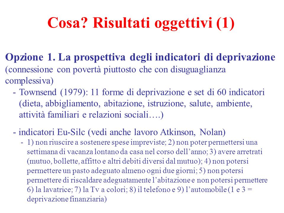 Cosa Risultati oggettivi (1)