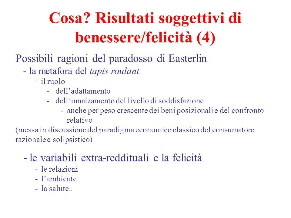 Cosa Risultati soggettivi di benessere/felicità (4)