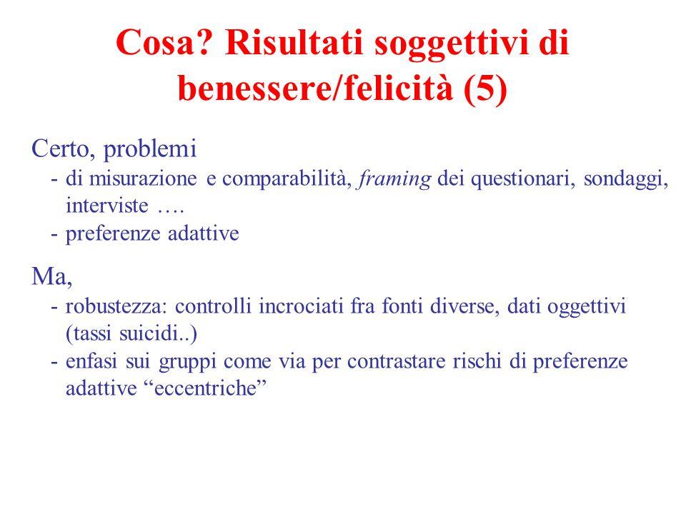 Cosa Risultati soggettivi di benessere/felicità (5)