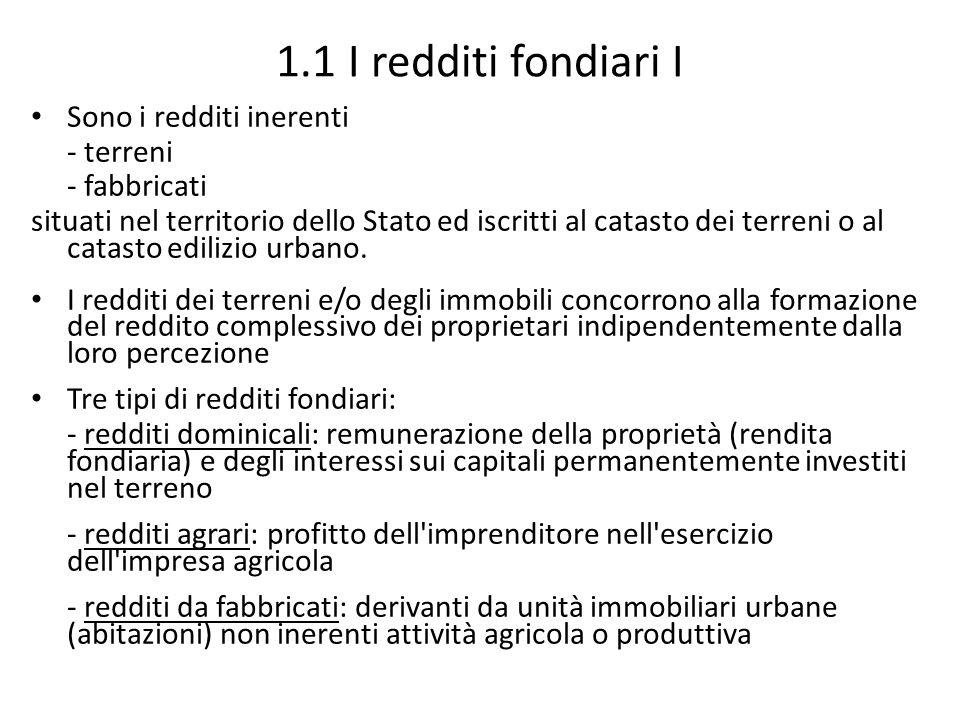 1.1 I redditi fondiari I Sono i redditi inerenti - terreni