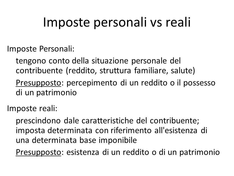 Imposte personali vs reali