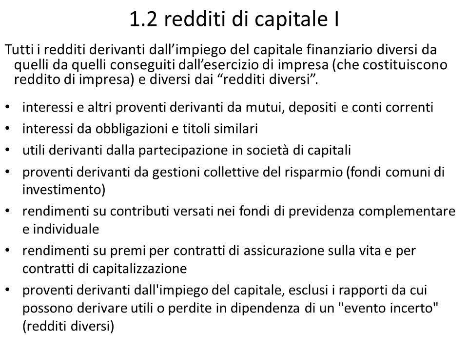 1.2 redditi di capitale I