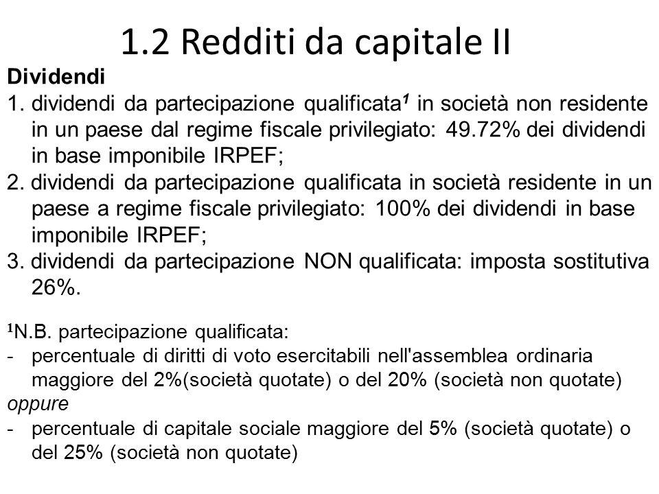 1.2 Redditi da capitale II Dividendi