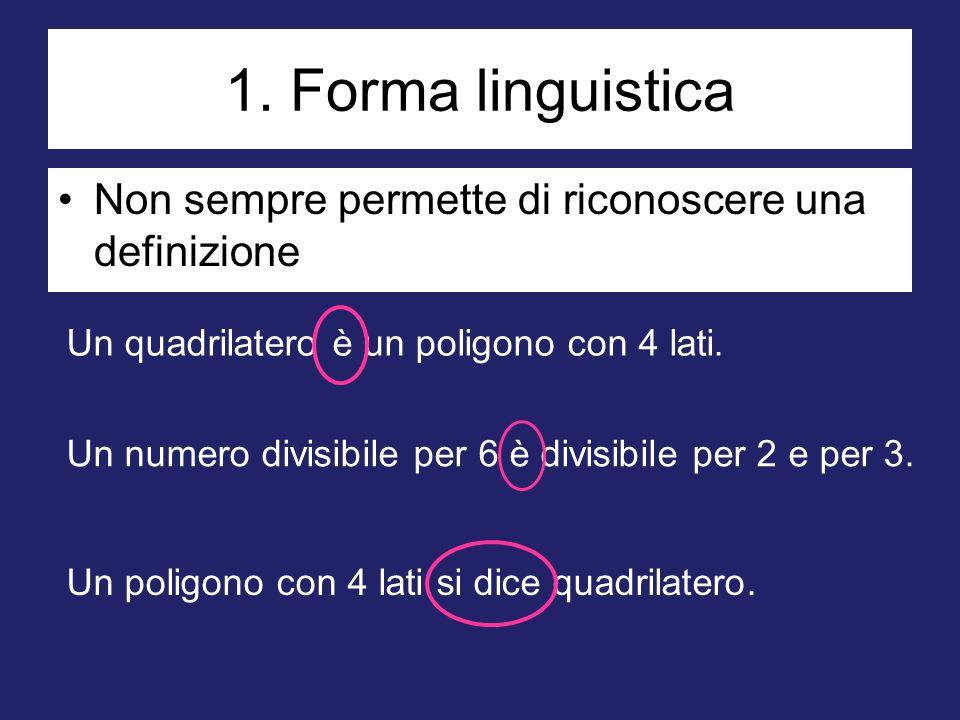 1. Forma linguistica Non sempre permette di riconoscere una definizione. Un quadrilatero è un poligono con 4 lati.