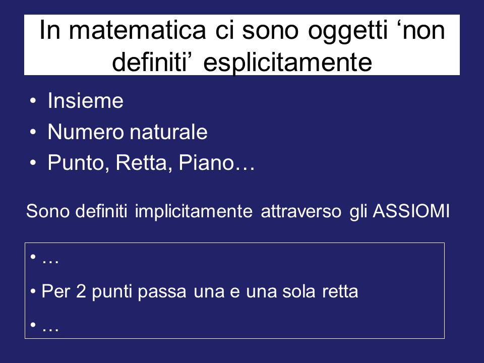 In matematica ci sono oggetti 'non definiti' esplicitamente