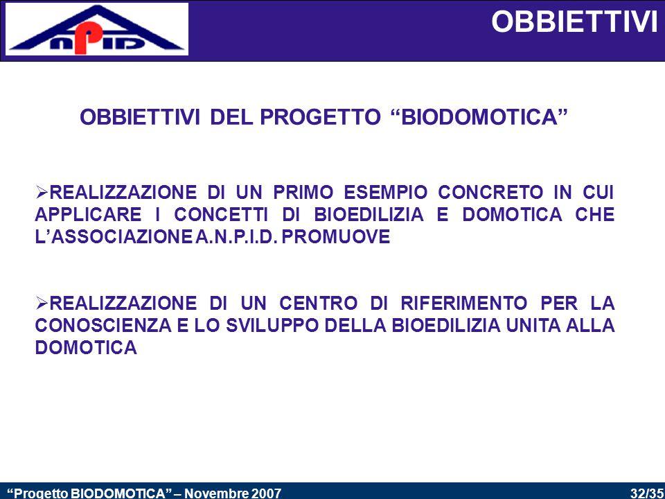 OBBIETTIVI DEL PROGETTO BIODOMOTICA