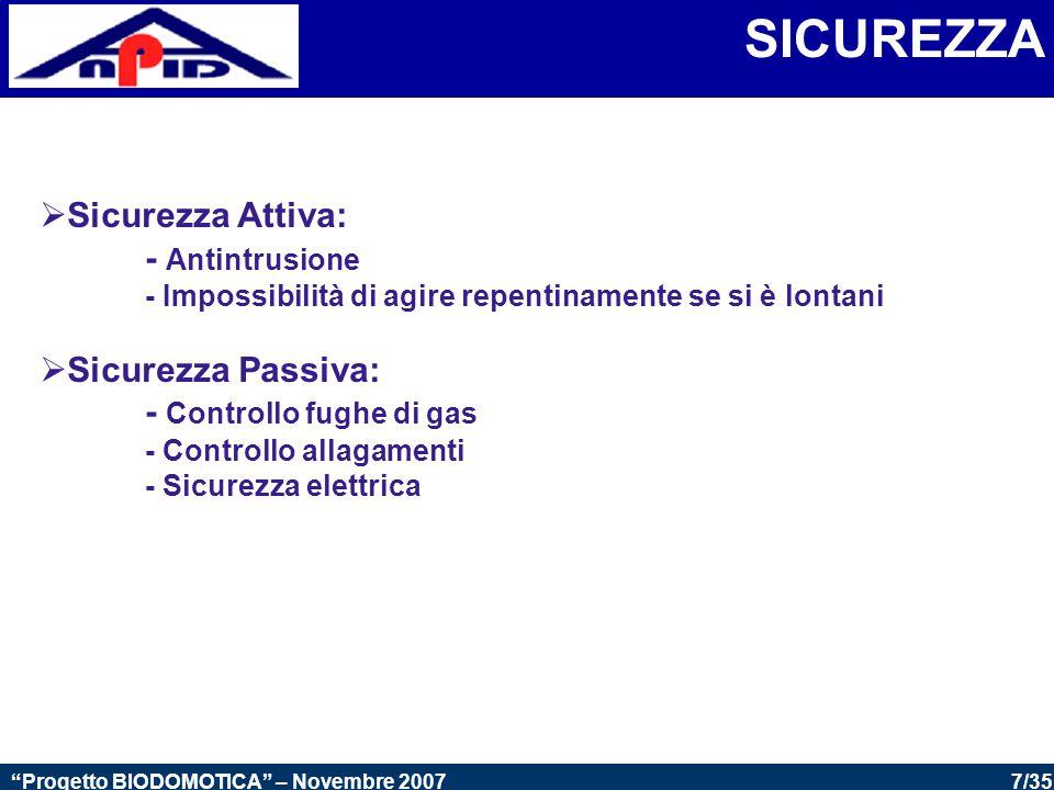 SICUREZZA Sicurezza Attiva: - Antintrusione Sicurezza Passiva: