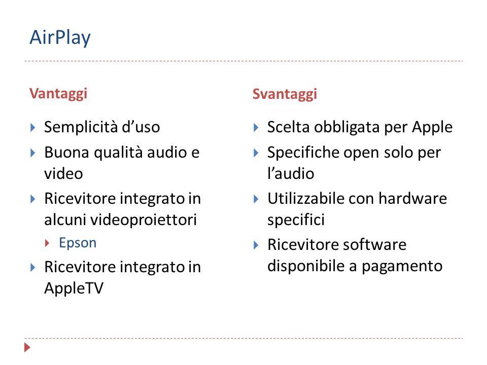 AirPlay Semplicità d'uso Buona qualità audio e video