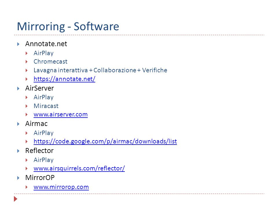 Mirroring - Software Annotate.net AirServer Airmac Reflector MirrorOP