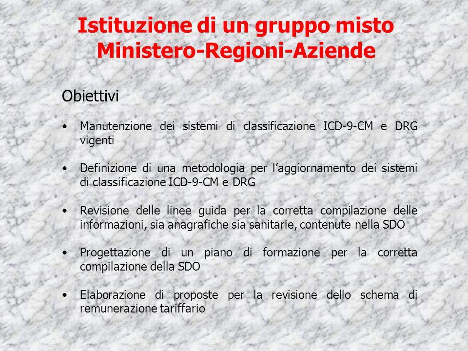 Istituzione di un gruppo misto Ministero-Regioni-Aziende