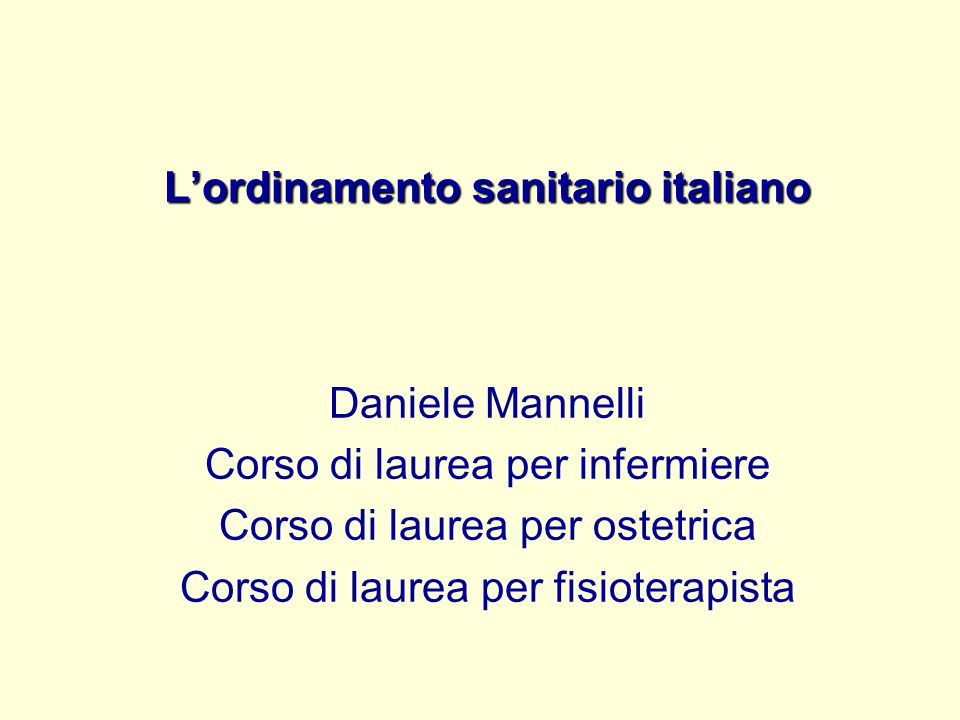 L'ordinamento sanitario italiano