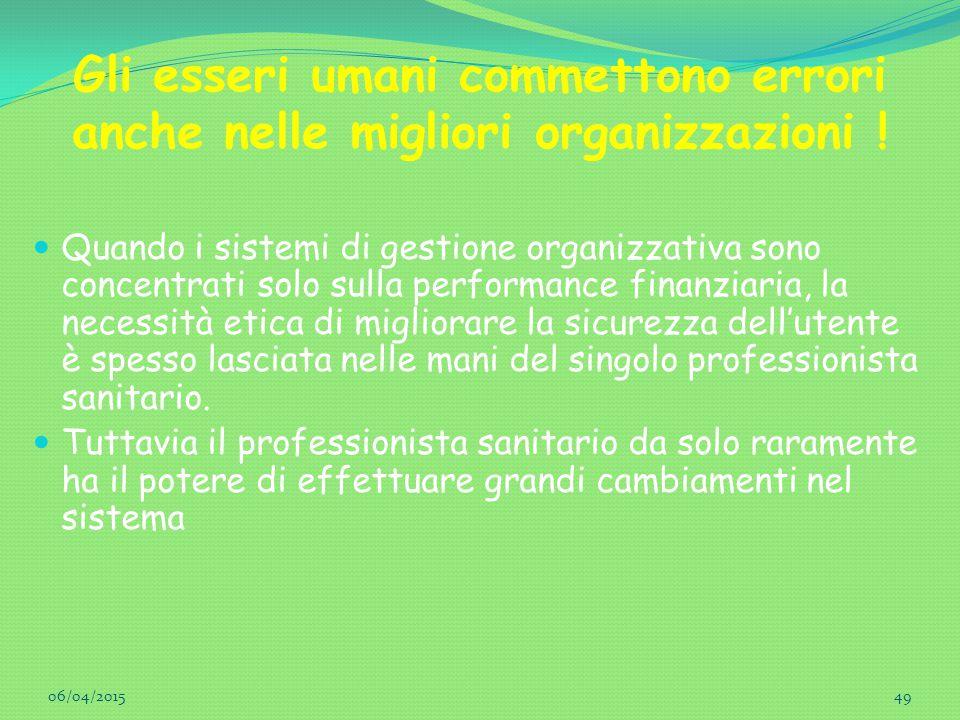 Gli esseri umani commettono errori anche nelle migliori organizzazioni !