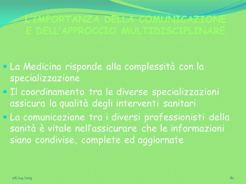 L'IMPORTANZA DELLA COMUNICAZIONE E DELL'APPROCCIO MULTIDISCIPLINARE