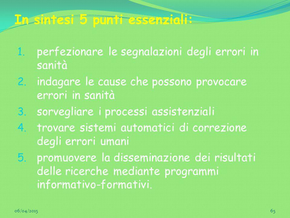 In sintesi 5 punti essenziali: