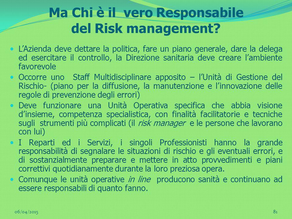 Ma Chi è il vero Responsabile del Risk management