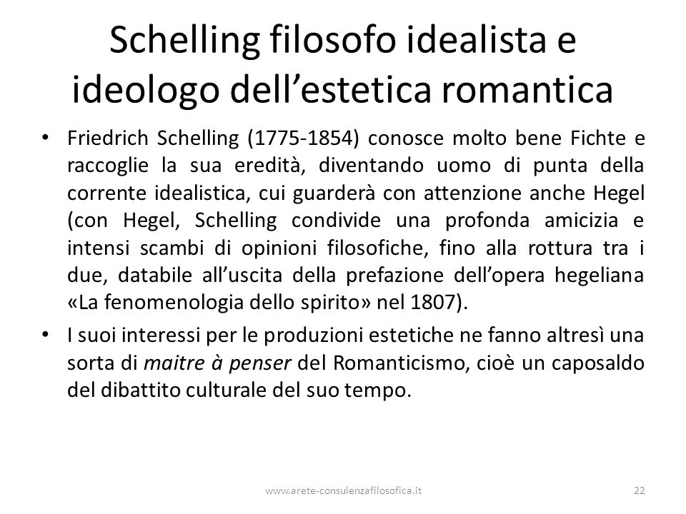 Schelling filosofo idealista e ideologo dell'estetica romantica
