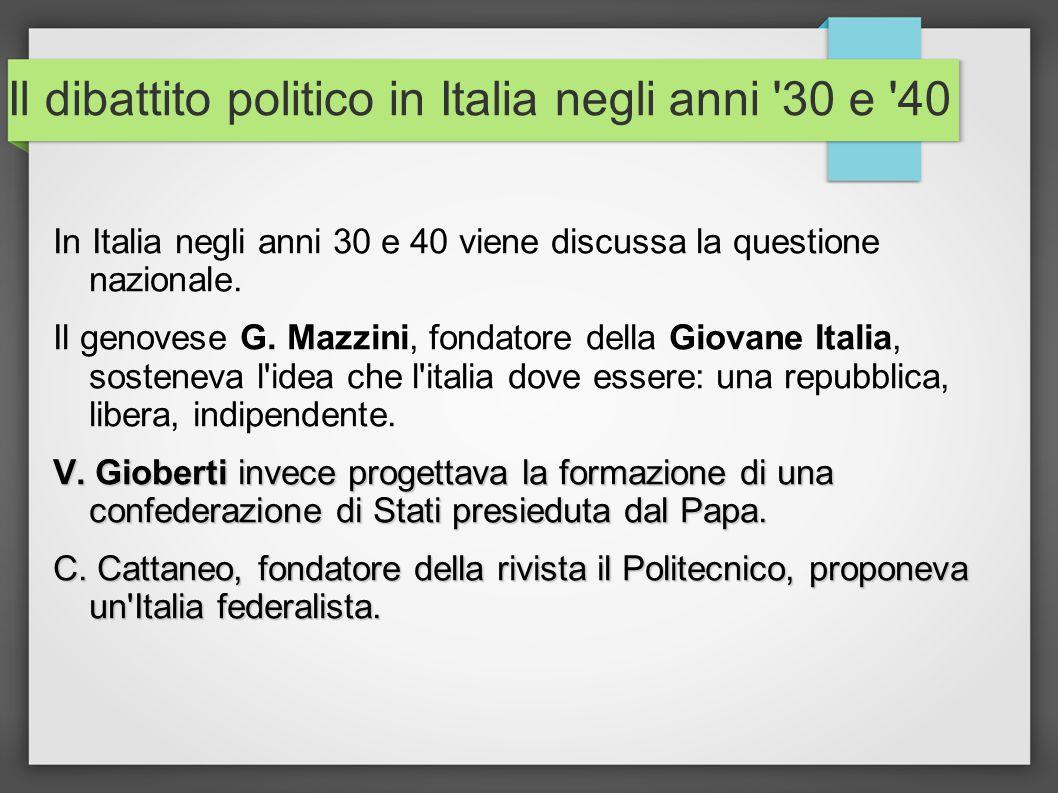 Il dibattito politico in Italia negli anni 30 e 40