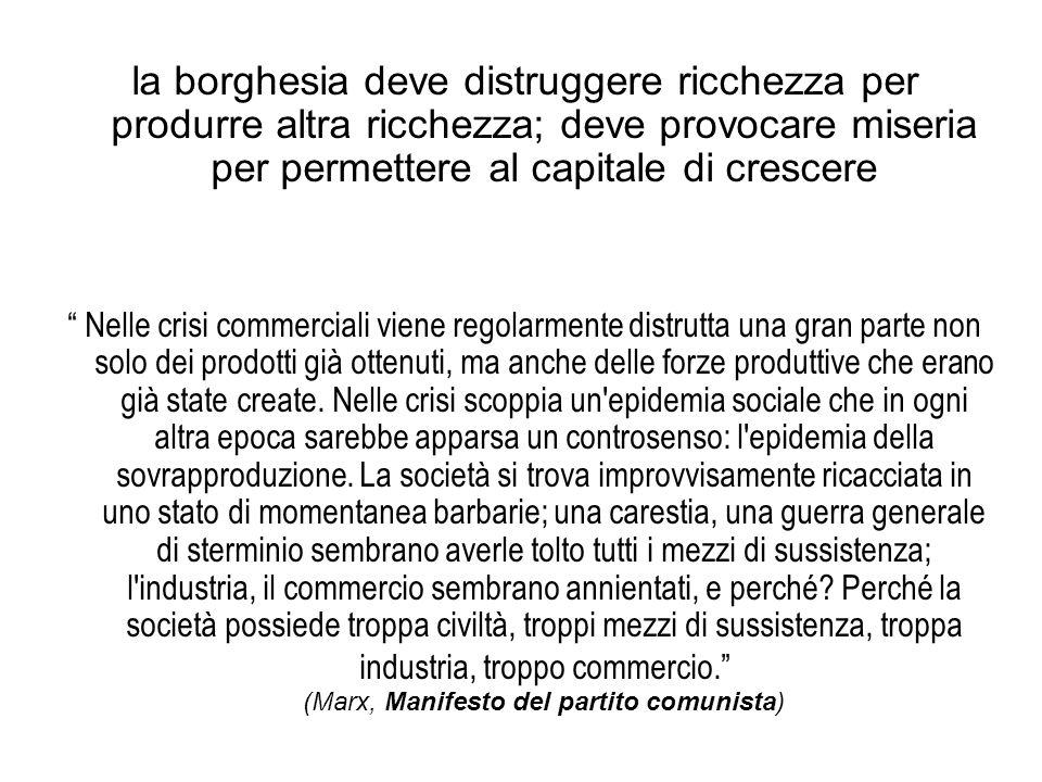 la borghesia deve distruggere ricchezza per produrre altra ricchezza; deve provocare miseria per permettere al capitale di crescere