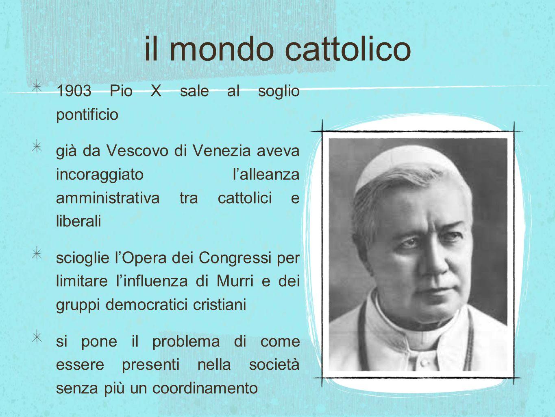 il mondo cattolico 1903 Pio X sale al soglio pontificio