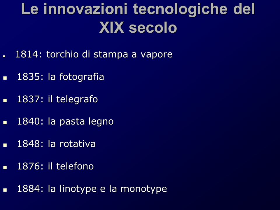 Le innovazioni tecnologiche del XIX secolo