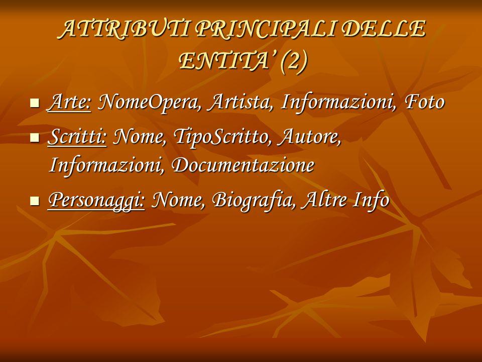 ATTRIBUTI PRINCIPALI DELLE ENTITA' (2)