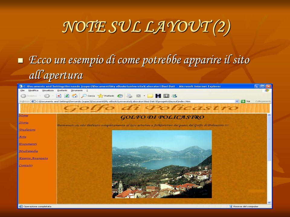 NOTE SUL LAYOUT (2) Ecco un esempio di come potrebbe apparire il sito all'apertura