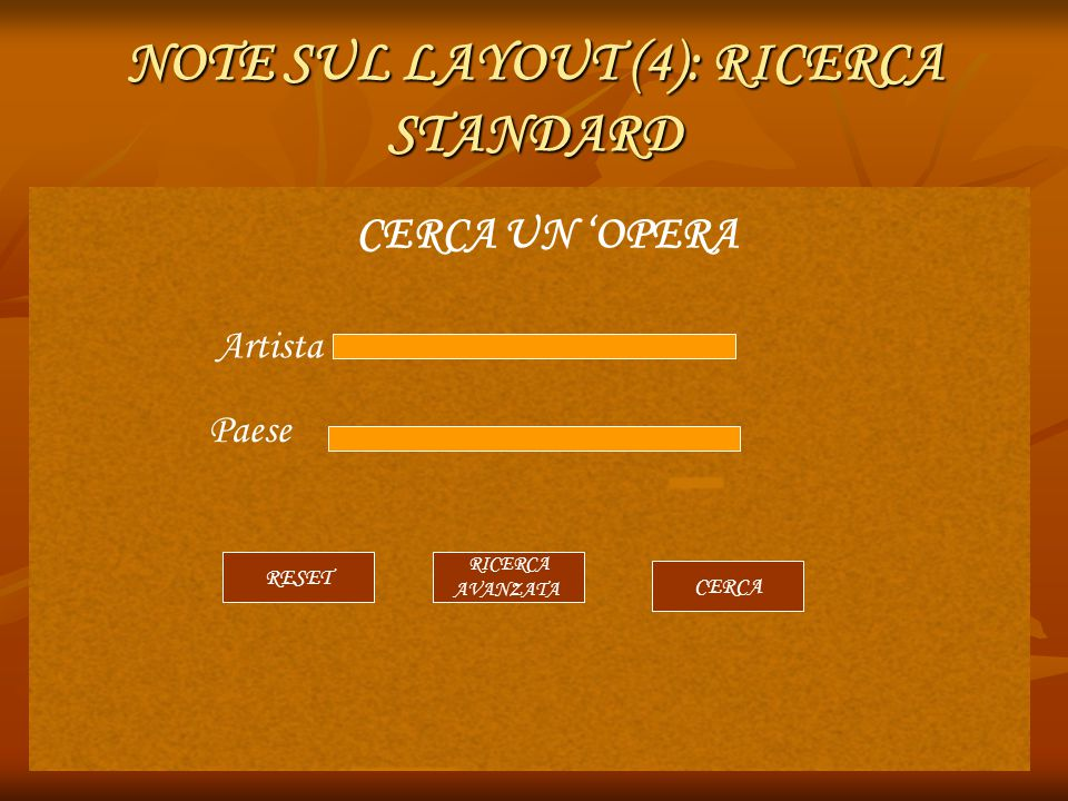 NOTE SUL LAYOUT (4): RICERCA STANDARD