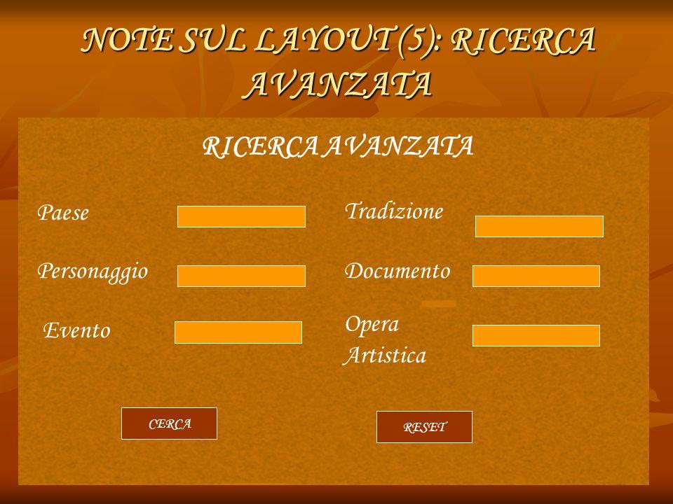 NOTE SUL LAYOUT (5): RICERCA AVANZATA