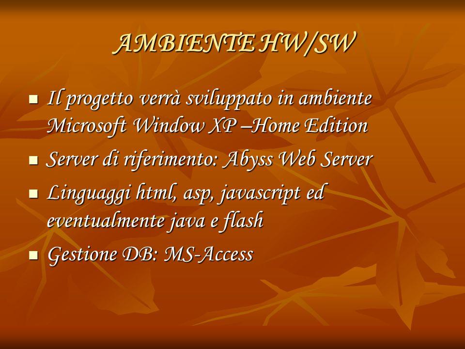 AMBIENTE HW/SW Il progetto verrà sviluppato in ambiente Microsoft Window XP –Home Edition. Server di riferimento: Abyss Web Server.