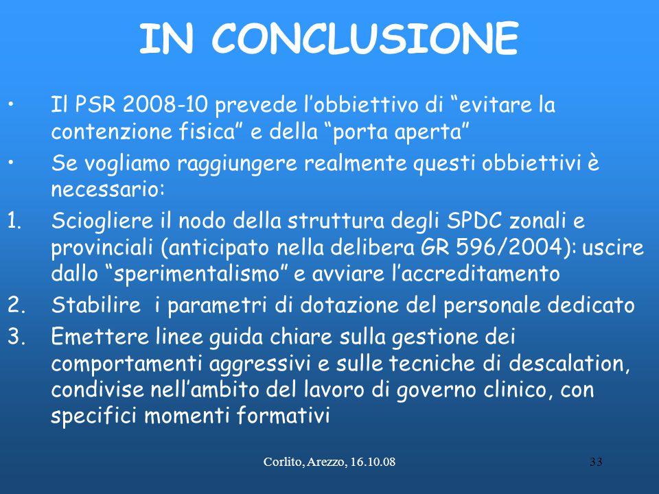 IN CONCLUSIONE Il PSR 2008-10 prevede l'obbiettivo di evitare la contenzione fisica e della porta aperta