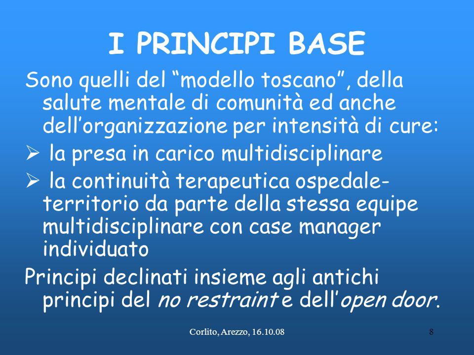 I PRINCIPI BASE Sono quelli del modello toscano , della salute mentale di comunità ed anche dell'organizzazione per intensità di cure: