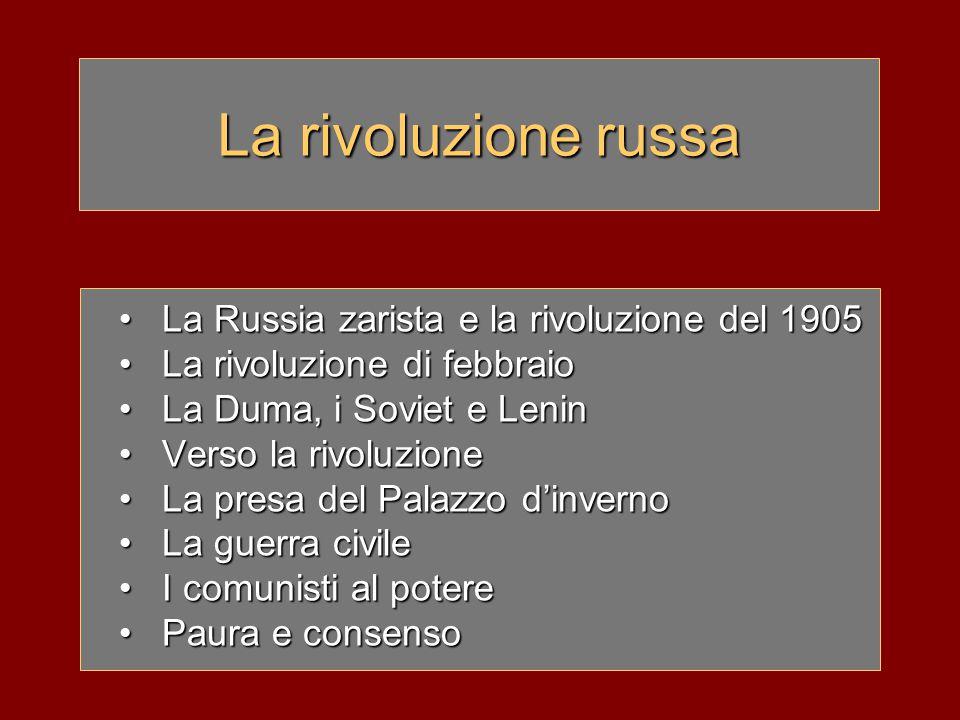 La rivoluzione russa La Russia zarista e la rivoluzione del 1905