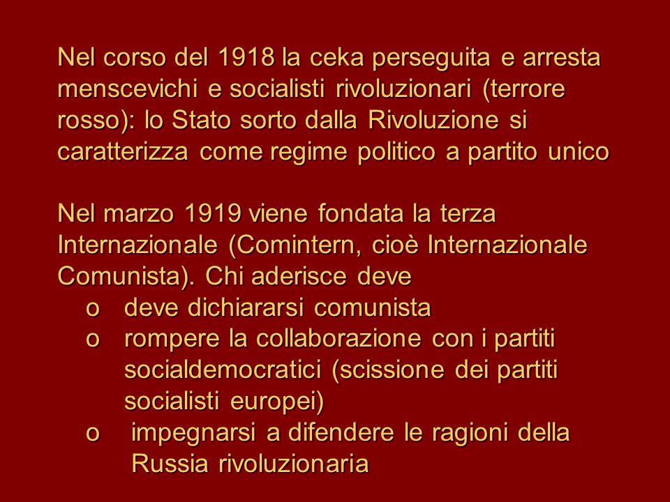 Nel corso del 1918 la ceka perseguita e arresta menscevichi e socialisti rivoluzionari (terrore rosso): lo Stato sorto dalla Rivoluzione si caratterizza come regime politico a partito unico Nel marzo 1919 viene fondata la terza Internazionale (Comintern, cioè Internazionale Comunista).