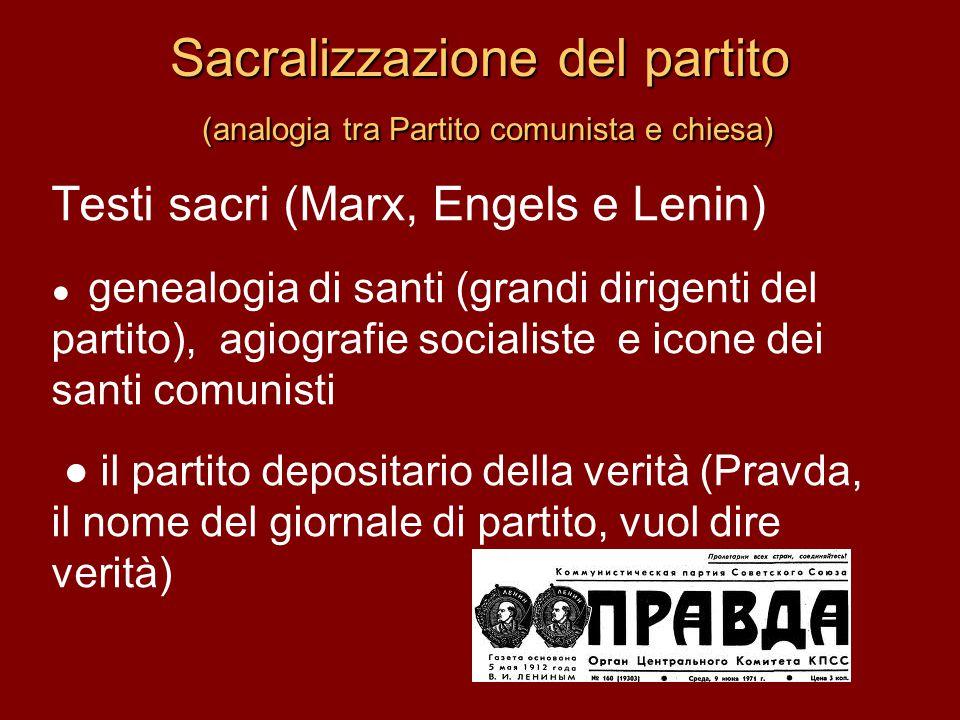Sacralizzazione del partito (analogia tra Partito comunista e chiesa)