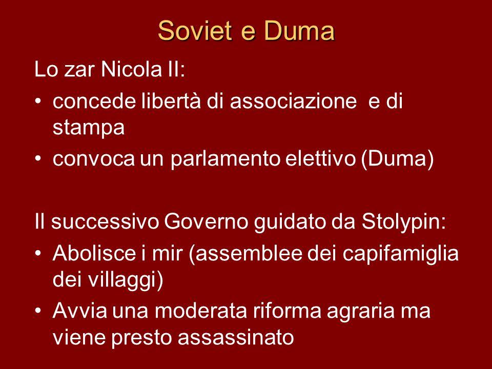 Soviet e Duma Lo zar Nicola II: