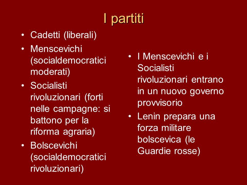 I partiti Cadetti (liberali) Menscevichi (socialdemocratici moderati)