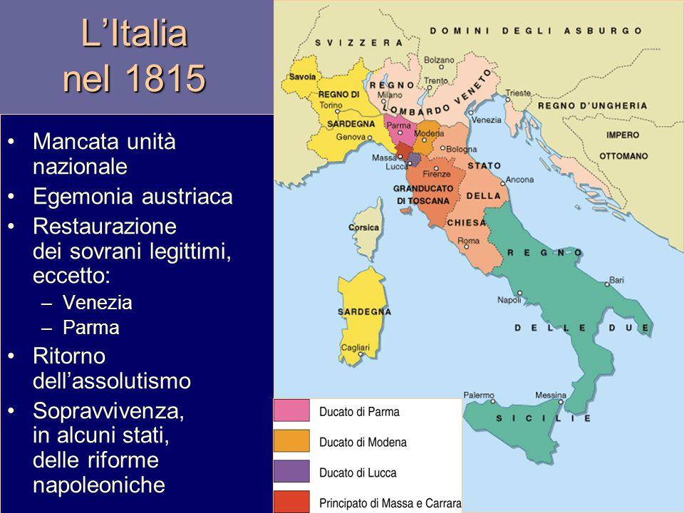 L'Italia nel 1815 Mancata unità nazionale Egemonia austriaca