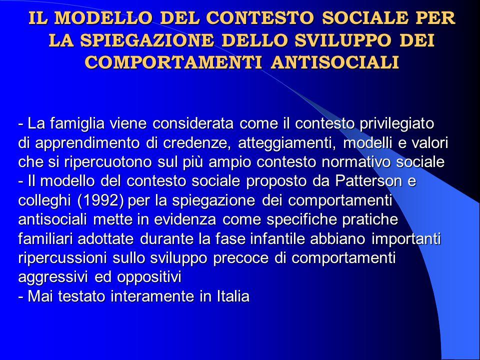 IL MODELLO DEL CONTESTO SOCIALE PER LA SPIEGAZIONE DELLO SVILUPPO DEI COMPORTAMENTI ANTISOCIALI