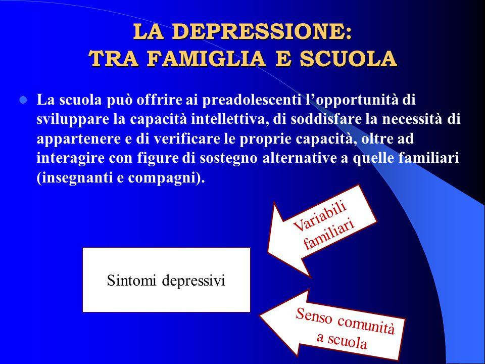 LA DEPRESSIONE: TRA FAMIGLIA E SCUOLA