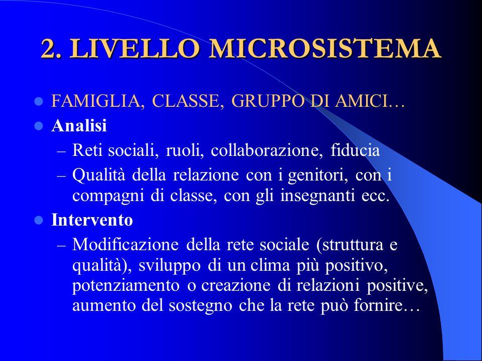 2. LIVELLO MICROSISTEMA FAMIGLIA, CLASSE, GRUPPO DI AMICI… Analisi