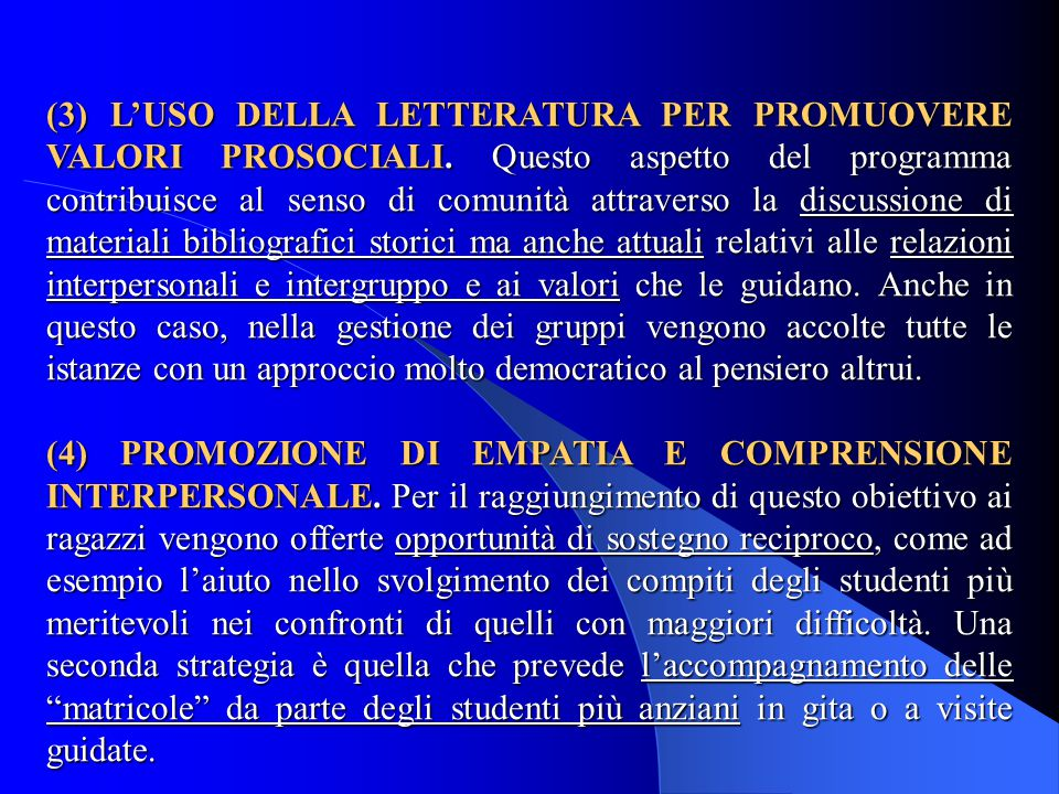 (3) L'USO DELLA LETTERATURA PER PROMUOVERE VALORI PROSOCIALI