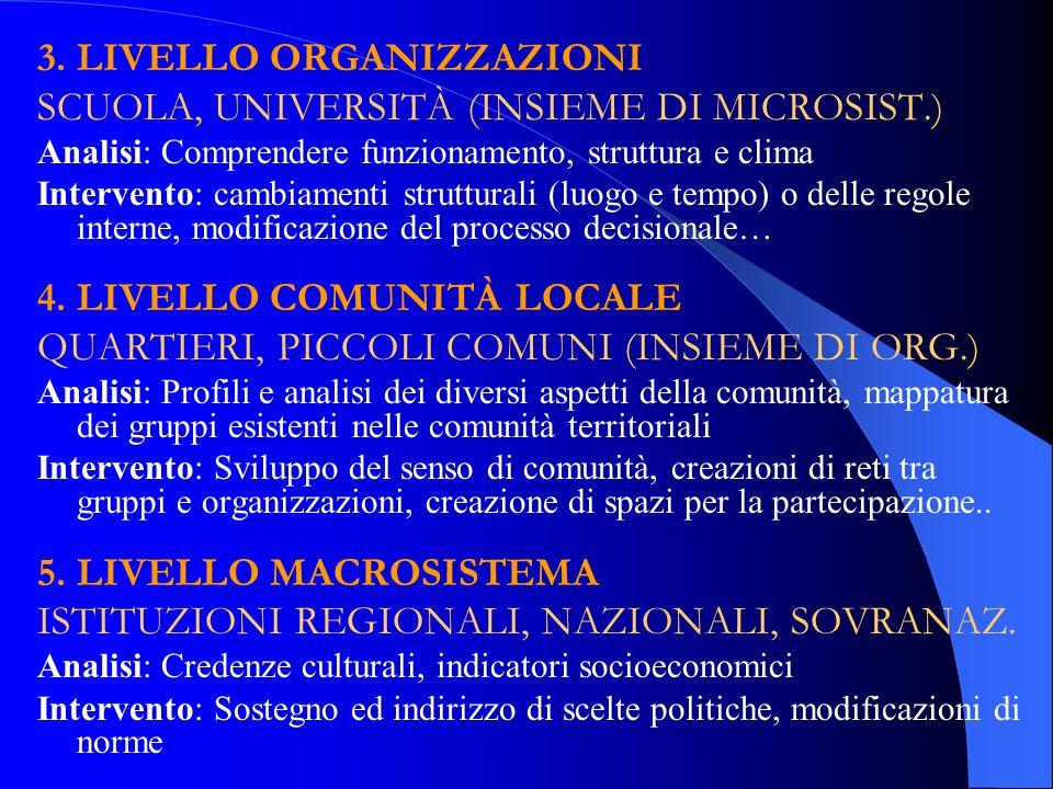 3. LIVELLO ORGANIZZAZIONI SCUOLA, UNIVERSITÀ (INSIEME DI MICROSIST.)