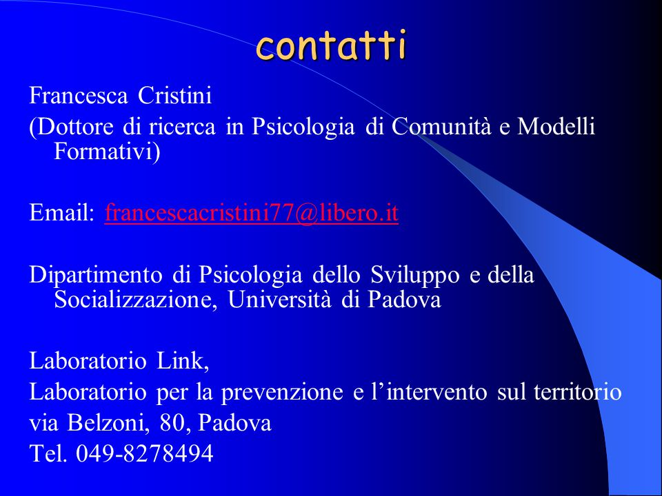 contatti Francesca Cristini