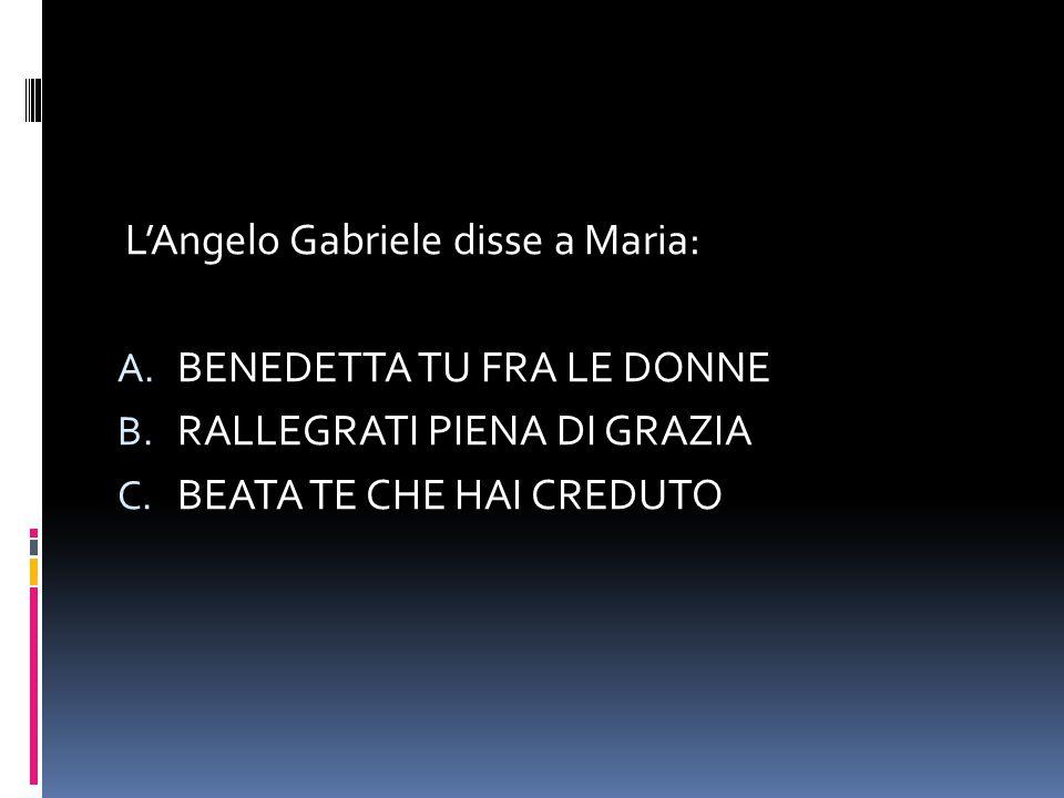 L'Angelo Gabriele disse a Maria: