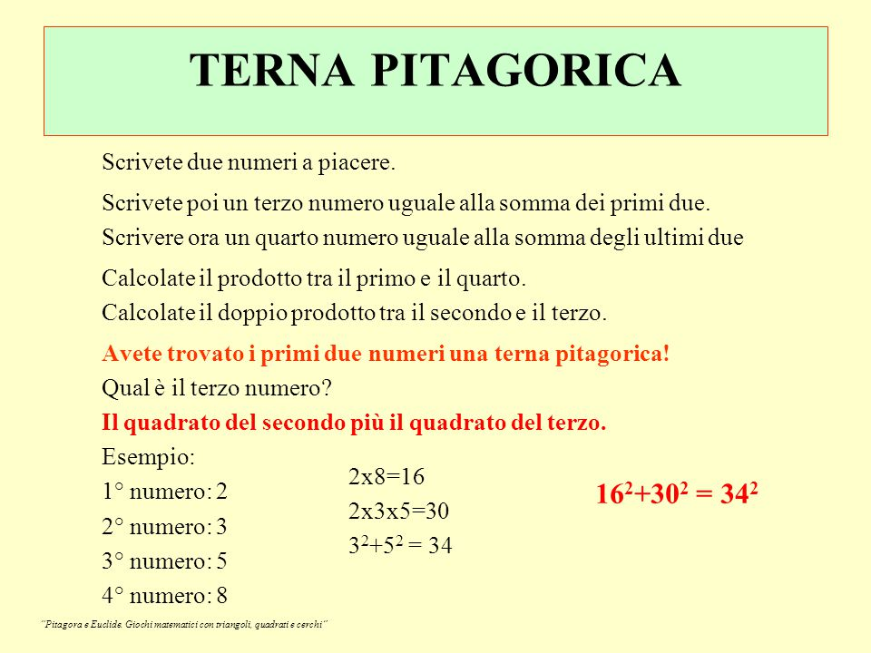 TERNA PITAGORICA 162+302 = 342 Scrivete due numeri a piacere.