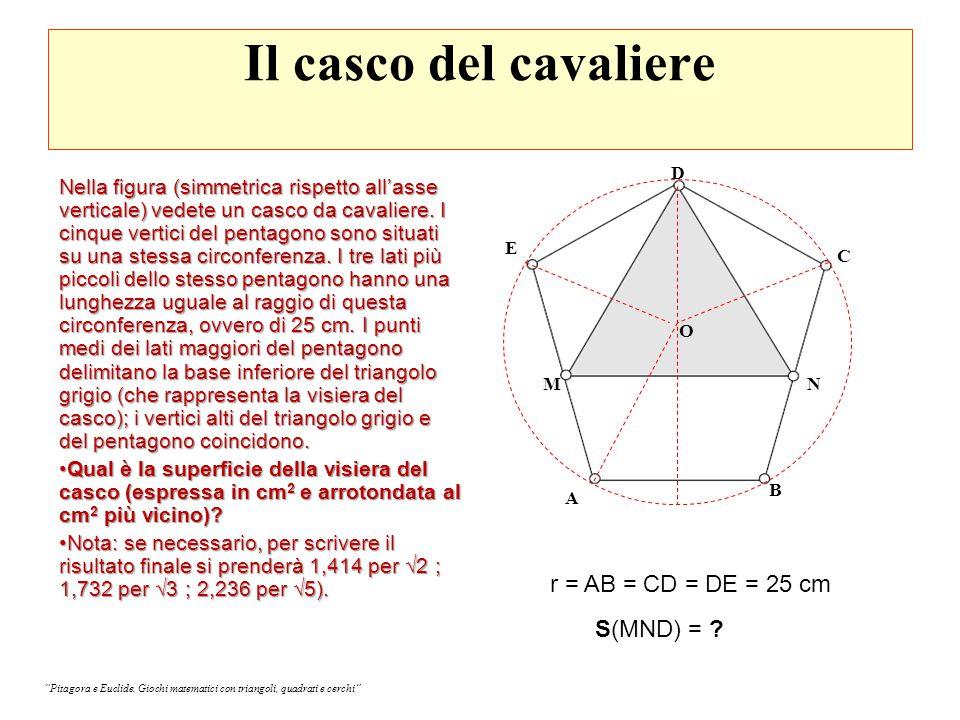 Il casco del cavaliere r = AB = CD = DE = 25 cm S(MND) =