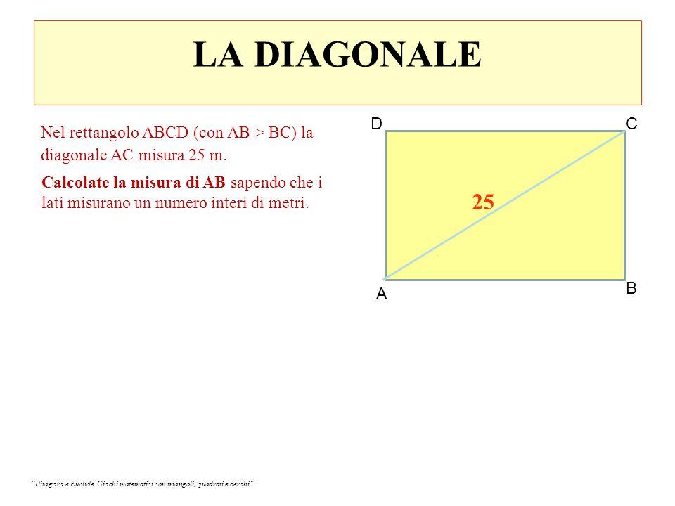 LA DIAGONALE D. C. Nel rettangolo ABCD (con AB > BC) la diagonale AC misura 25 m.