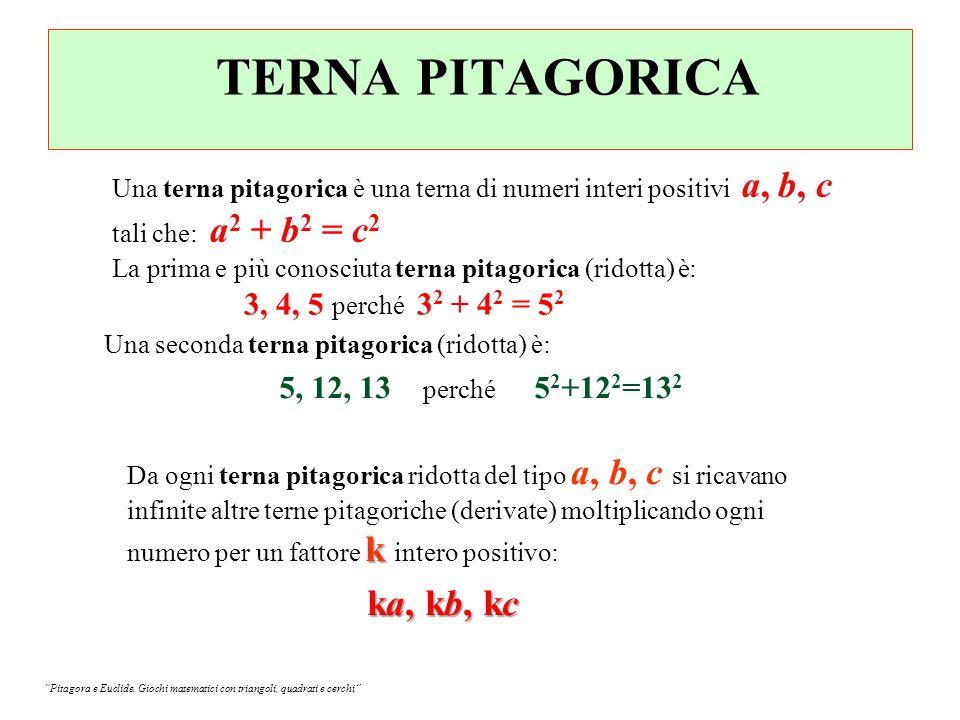 TERNA PITAGORICA Una terna pitagorica è una terna di numeri interi positivi a, b, c tali che: a2 + b2 = c2.