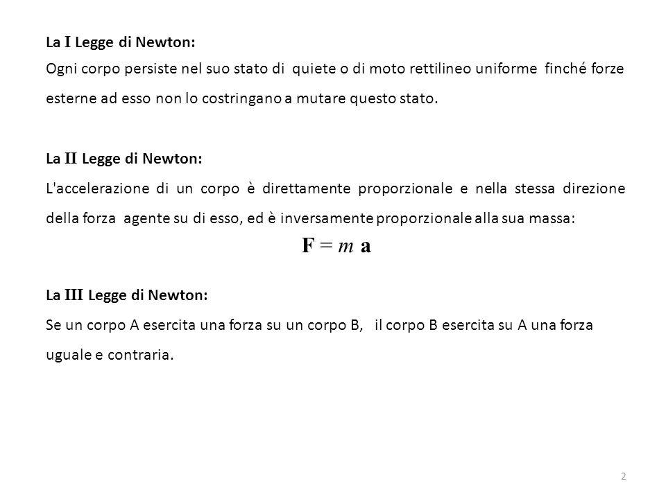 F = m a La I Legge di Newton: