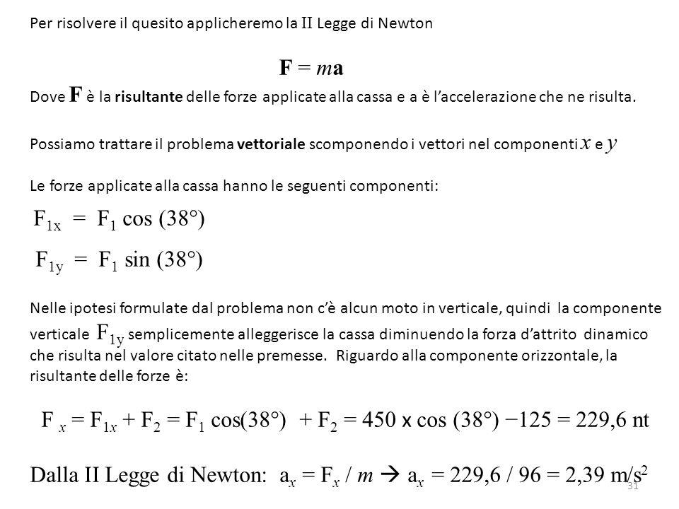 F x = F1x + F2 = F1 cos(38°) + F2 = 450 x cos (38°) −125 = 229,6 nt